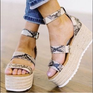 Shoes - Python Espadrille Platform Sandals, Sizes, 7 & 8